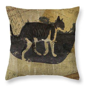 Cat Travels Throw Pillow