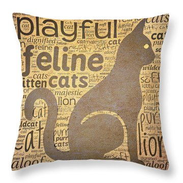 Cat Typography Throw Pillow