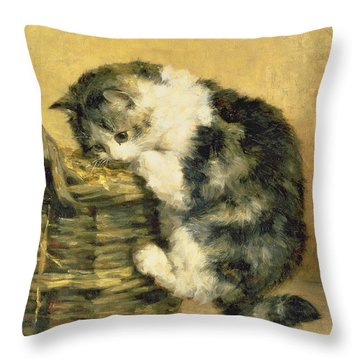 Cat With A Basket Throw Pillow by Charles Van Den Eycken