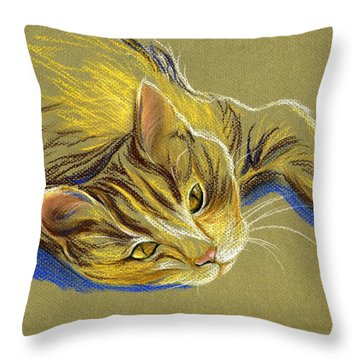 Cat With Gold Eyes Throw Pillow by MM Anderson