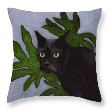 Cat With Japanese Aralia  Throw Pillow