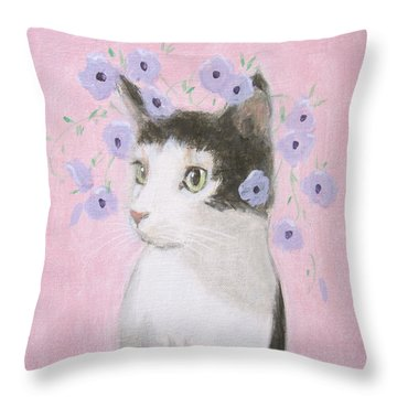 Cat With Purple Flowers Throw Pillow