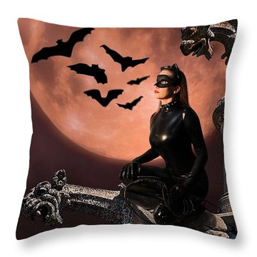 Cat Vs Bat Throw Pillow