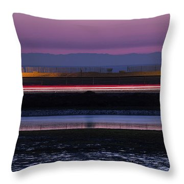 Catalina Bolsa Chica Pch Light Trails And The Wetlands By Denise Dube Throw Pillow