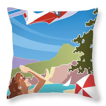 Catalina, Mid Century Travel Throw Pillow
