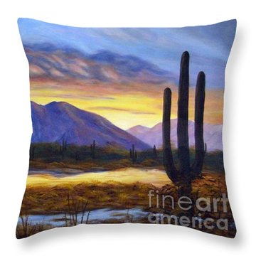 Throw Pillow featuring the painting Catalina Sunrise by Judy Filarecki