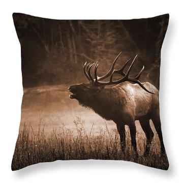 Cataloochee Bull Elk In Sepia Throw Pillow