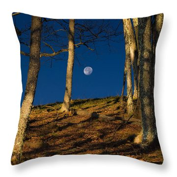 Cataloochee Valley Moonset Throw Pillow by Serge Skiba