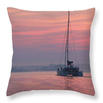Catamaran At Dawn Throw Pillow