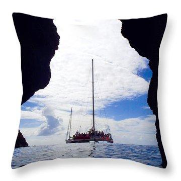 Catamaran In The Bvi Throw Pillow