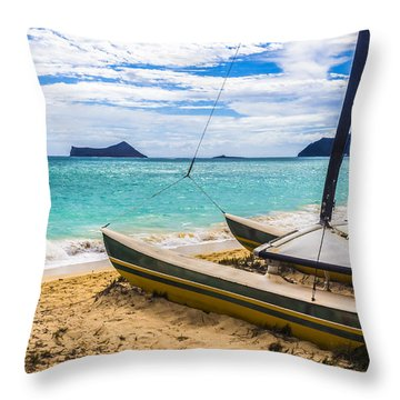 Catamaran On Waimanalo Beach Throw Pillow by Leigh Anne Meeks