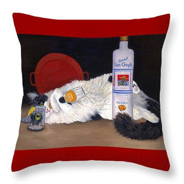 Throw Pillow featuring the painting Catatonic by Karen Zuk Rosenblatt