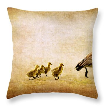 Throw Pillow featuring the photograph Catch Up Little Gosling by Lisa Knechtel
