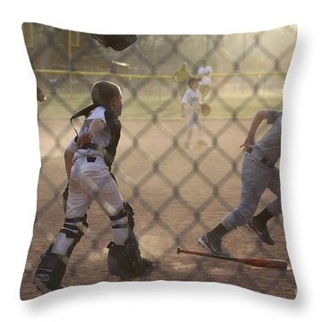 Catcher In Action Throw Pillow by Chris Thomas