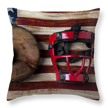 Catchers Glove On American Flag Throw Pillow by Garry Gay