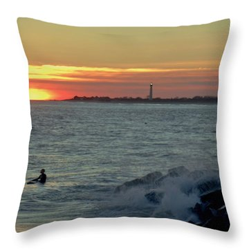 Throw Pillow featuring the photograph Catching A Wave At Sunset by Ed Sweeney