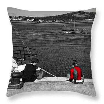 Throw Pillow featuring the photograph Catching Crabs In Red by Meirion Matthias