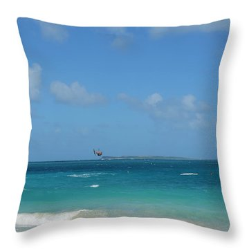 Catching Some Air At Orient Beach In Saint Martin Throw Pillow