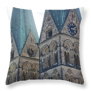 Cathedral In Bremen Throw Pillow