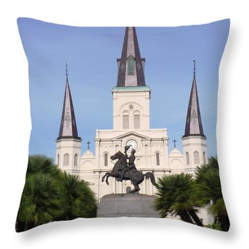 Throw Pillow featuring the photograph Cathedral In Jackson Square by Alys Caviness-Gober