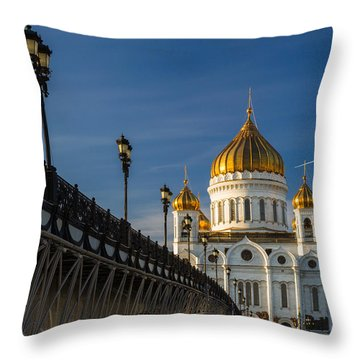 Cathedral Of Christ The Savior In Moscow - Featured 3 Throw Pillow by Alexander Senin