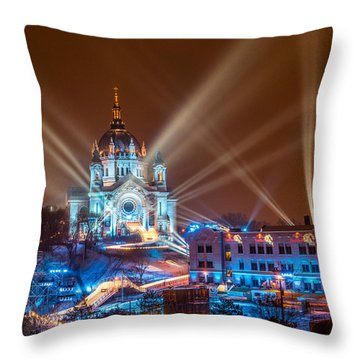 Cathedral Of St Paul Ready For Red Bull Crashed Ice Throw Pillow by Paul Freidlund