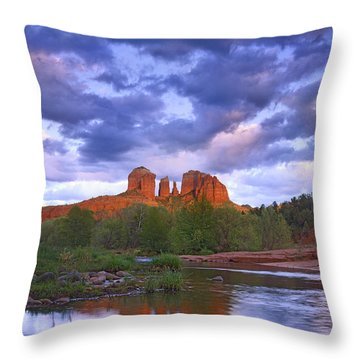 Cathedral Rock And Oak Creek At Red Throw Pillow by Tim Fitzharris