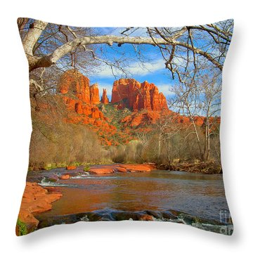 Cathedral Rock Throw Pillow by John Roberts