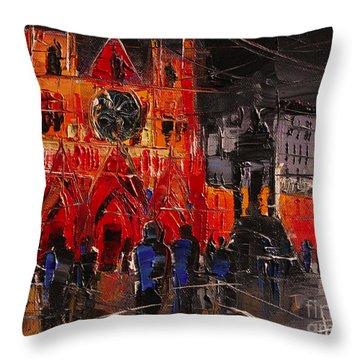Cathedral Saint Jean-baptiste In Lyon Throw Pillow by Mona Edulesco