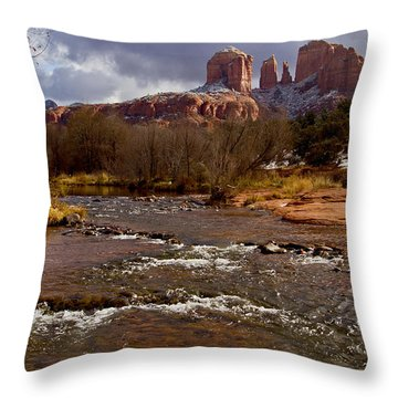 Throw Pillow featuring the photograph Cathedral's Dusting  by Tom Kelly