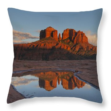 Cathedrals' Reflection Throw Pillow by Tom Kelly