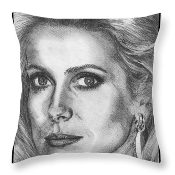 Catherine Deneuve In 1976 Throw Pillow by J McCombie