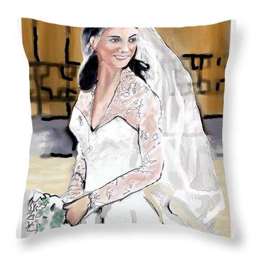 Catherine Duchess Of Cambridge Print  Throw Pillow by Eric  Schiabor