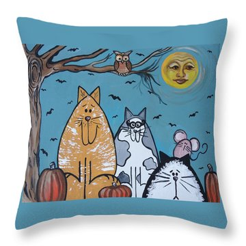 Cats And Harvest Moon Throw Pillow