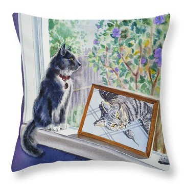 Cats And Mice Sweet Memories Throw Pillow by Irina Sztukowski