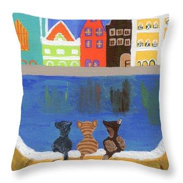 Cats Enjoying The View Throw Pillow by Melissa Vijay Bharwani