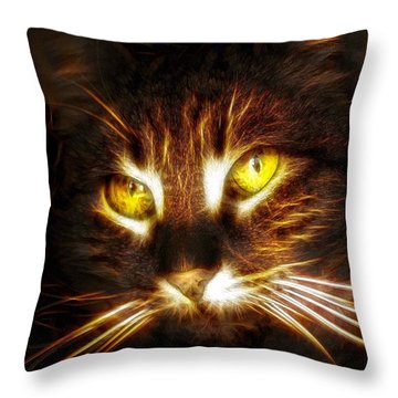 Cat's Eyes - Fractal Throw Pillow by Lilia D