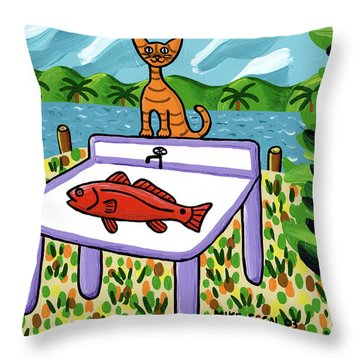 Cat's Fish - Cedar Key Throw Pillow