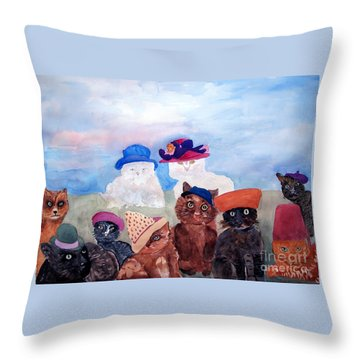 Cats In Hats Throw Pillow