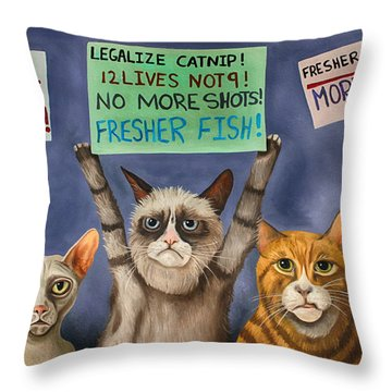 Cats On Strike Edit 3 Throw Pillow