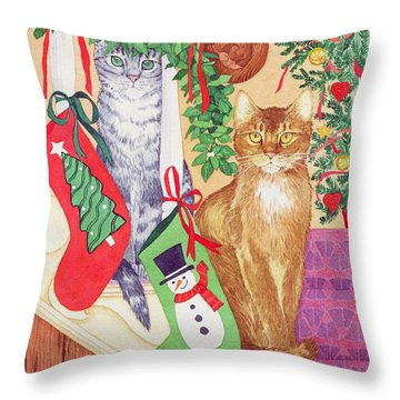 Cats On The Stairs Throw Pillow