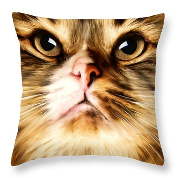 Cat's Perception Throw Pillow by Lourry Legarde