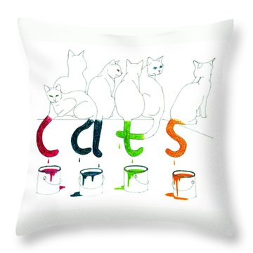 Cats With Paint Cans Throw Pillow