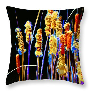 Throw Pillow featuring the mixed media Cattail Colors by Brian Stevens