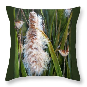 Cattails And Wrens Throw Pillow