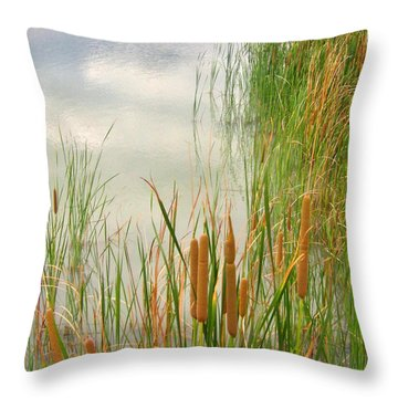 Throw Pillow featuring the photograph Cattails by Marilyn Diaz