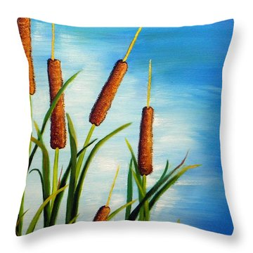 Throw Pillow featuring the painting Cattails by Shelia Kempf