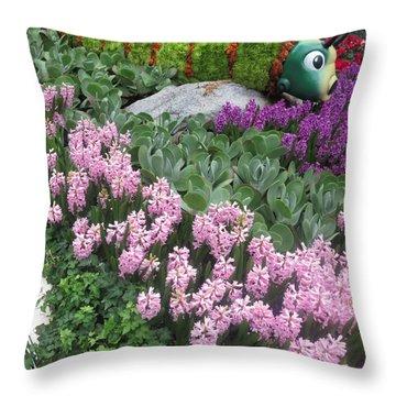 Catterpillar Large Flower Garden Vegas Throw Pillow by Navin Joshi