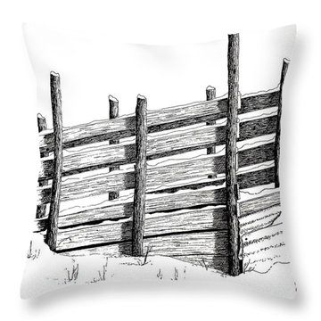 Cattle Chute Ink Throw Pillow