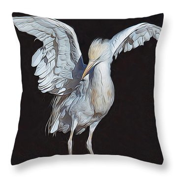 Cattle Egret Throw Pillow by Diane Alexander